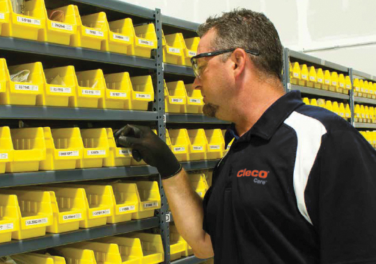 cleco care advisor looks through spare parts bins
