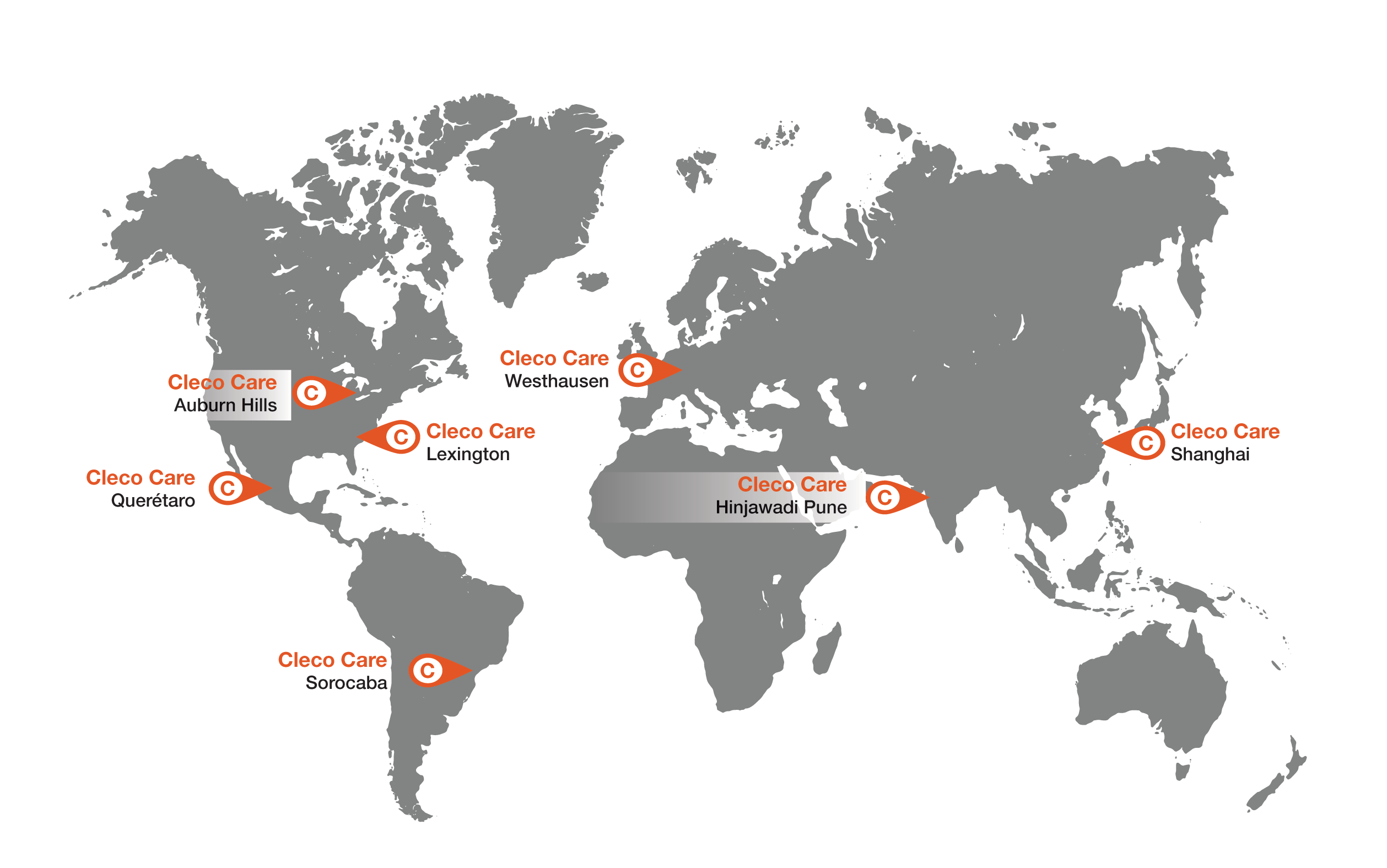 map showing cleco global service centers